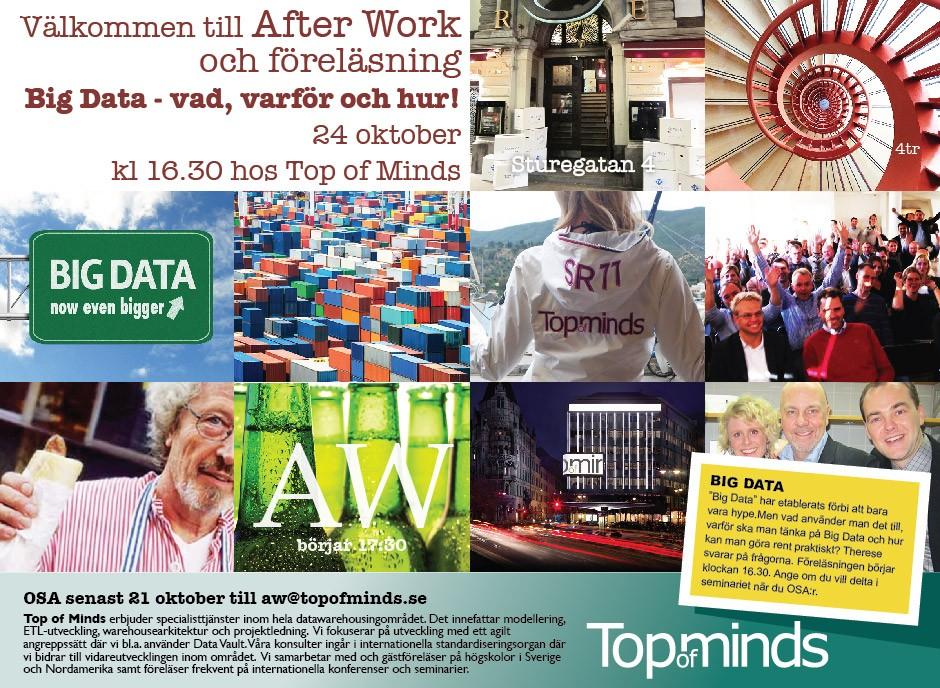 Välkommen till After work med Big Data föreläsning 24 oktober