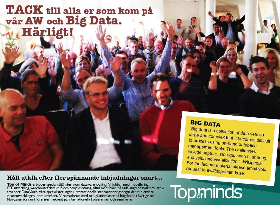 Succé after work med Big data föreläsning 20e september.